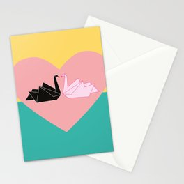 Black and white swan in a pink heart Stationery Cards