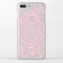 Medallion Pattern in Blush Pink Clear iPhone Case