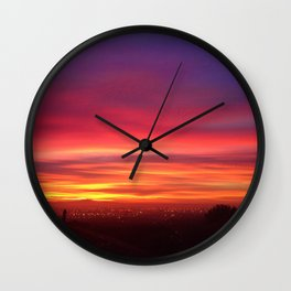"""""""Fall asleep with a dream"""" quote hot pink, orange, yellow & purple sunrise Wall Clock"""