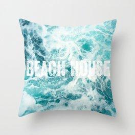 Beach House Ocean Sea Waves Throw Pillow