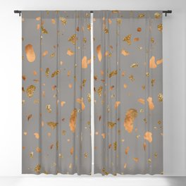 Elegant gray terrazzo with gold and copper spots Blackout Curtain