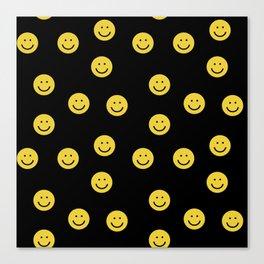 Happy Face - smiley, smiles, happy, emoji, cute, 90s, happy face Canvas Print