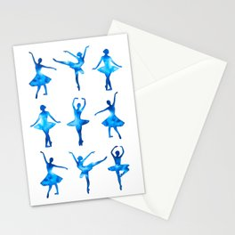 Watercolor Ballerinas (Blue) Stationery Cards