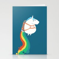 fat Stationery Cards featuring Fat Unicorn on Rainbow Jetpack by Picomodi