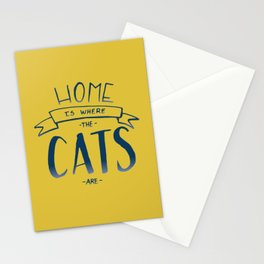 home is where the cats are - yellow and blue ombre Stationery Cards