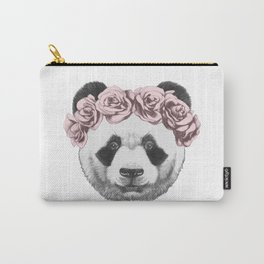 Portrait of Panda with floral head wreath. Carry-All Pouch