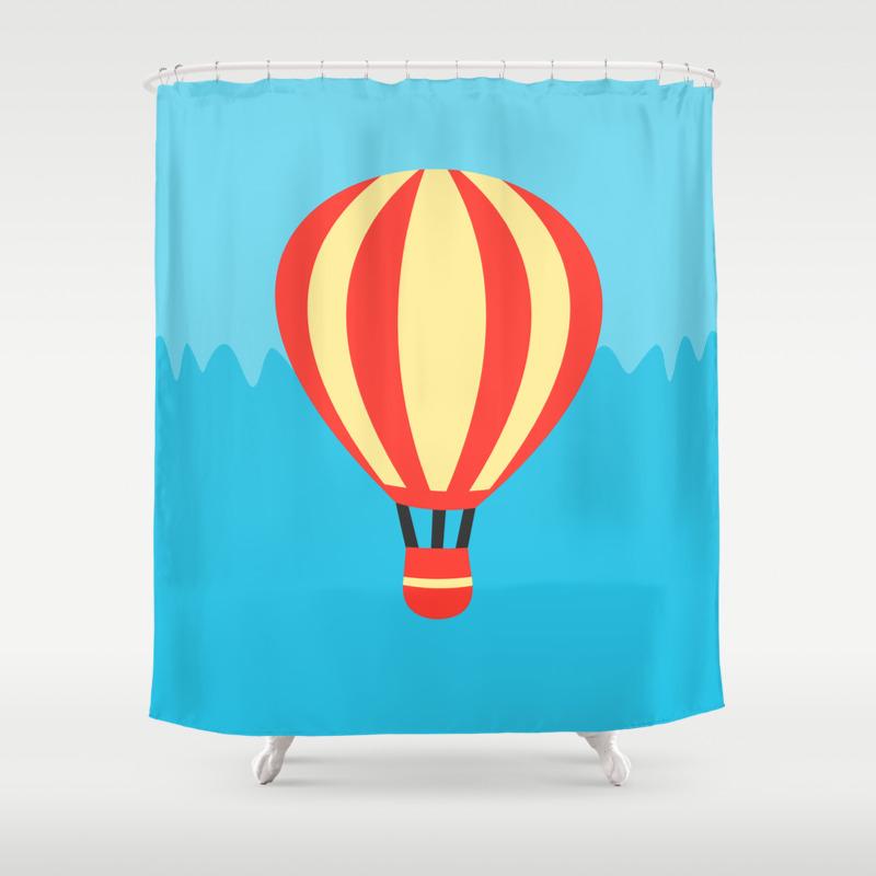 Yellow Hot Air Balloon Shower Curtain