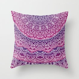 Zen Pink and Purple Mandala Throw Pillow