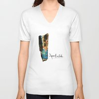 mineral V-neck T-shirts featuring Mineral: Labradorite Spectrolite by Spirit Tooth