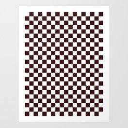 Small Checkered - White and Dark Sienna Brown Art Print