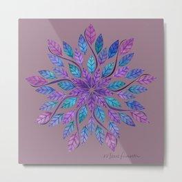 Leaf Mandala - Jewel Tones on Gray Metal Print