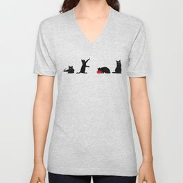 Cats Black on White Unisex V-Neck