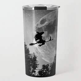 Flying witch | Moon witch | Witch cat | Witch broom | Halloween Travel Mug