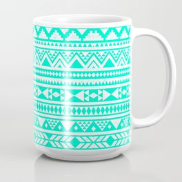 Turquoise White Aztec Urban Tribal Geometric Pattern Coffee Mug