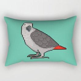 Pixel / 8-bit Parrot: Congo African Grey Rectangular Pillow