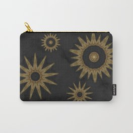 Gold Flower Mandalas over Black Marble Carry-All Pouch