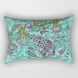 Koi with flaming lotus flowers Rectangular Pillow