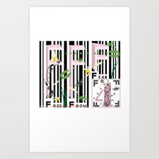 Four Freedoms Barcode Black Art Print