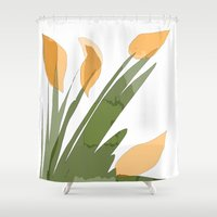 peach Shower Curtains featuring Peach by Wonder Art