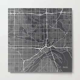 St Paul Map, USA - Gray Metal Print