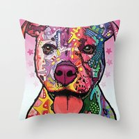 rottweiler Throw Pillows featuring Rottweiler Dog by trevacristina