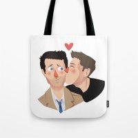 destiel Tote Bags featuring Destiel kisses by Mack Robles