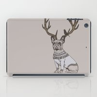 frenchie iPad Cases featuring Deer Frenchie  by Huebucket