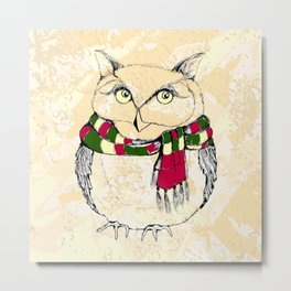 Owl with scarf. Funny owl. Metal Print