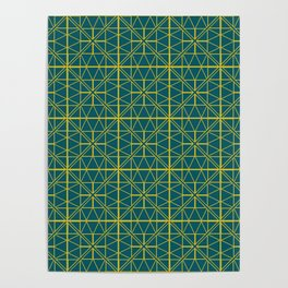 Emerald Green Triangles Pattern Poster