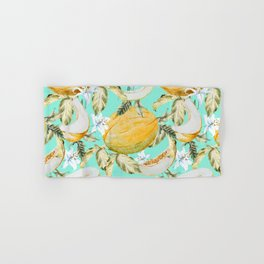 Melons with tropical flowers Hand & Bath Towel