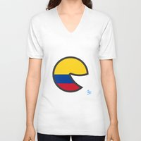 colombia V-neck T-shirts featuring Colombia Smile by onejyoo