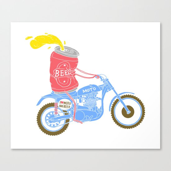 I love moto and beer Canvas Print