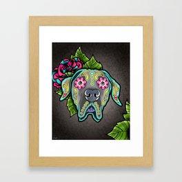 Great Dane with Floppy Ears - Day of the Dead Sugar Skull Dog Framed Art Print