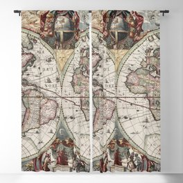 Vintage Maps Of The World Blackout Curtain