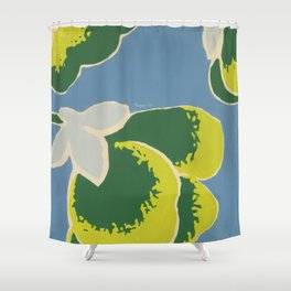 Big Japanese Flower On Blue Background Shower Curtain