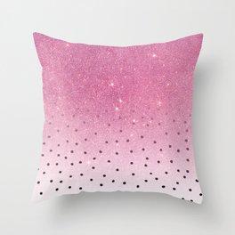 Black white polka dots pink glitter ombre Throw Pillow