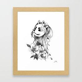 Smoking Kitsune Framed Art Print
