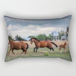 Born to Run - Horses Break Into a Gallop in Texas Rectangular Pillow