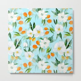 mediterranean summer kumquat and orchid branches on turquoise Metal Print