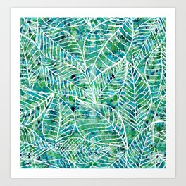 White and green leaves Art Print