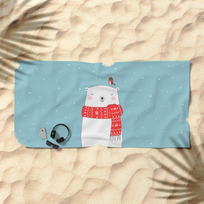 POLAR BEAR&LITTLE BIRD CHRISTMAS Beach Towel
