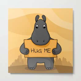 "Cute hand drawn Hippo with sign ""Hug me"" Metal Print"