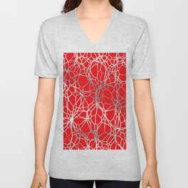 Pattern and Light red silver Unisex V-Neck