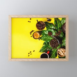 Border of various coffee on yellow background Framed Mini Art Print