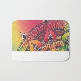 Zentangle Inspired Art (ZIA), Zendala with rainbow background Bath Mat