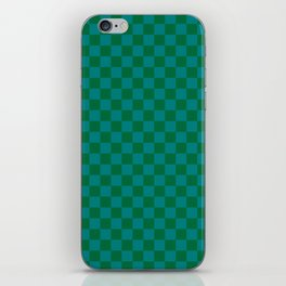 Teal Green and Cadmium Green Checkerboard iPhone Skin