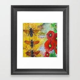Hollyhocks and Honey Framed Art Print