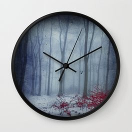 Winter Forest in Red and Blue Wall Clock