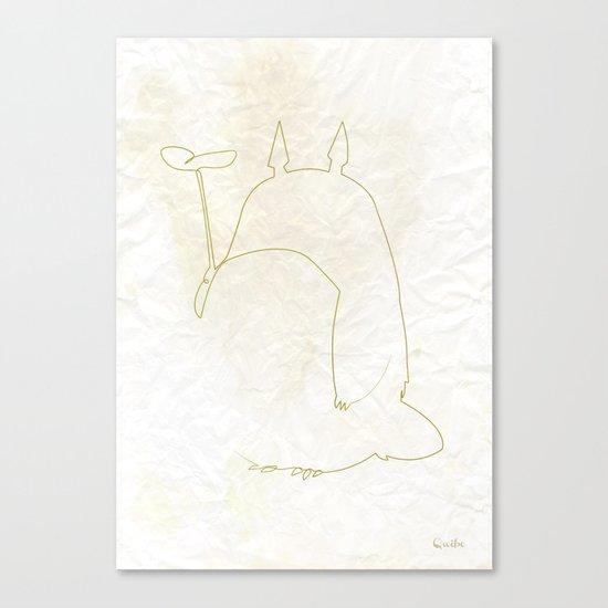 One line Totoro Canvas Print