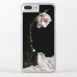 Wilted Pink Rose Clear iPhone Case
